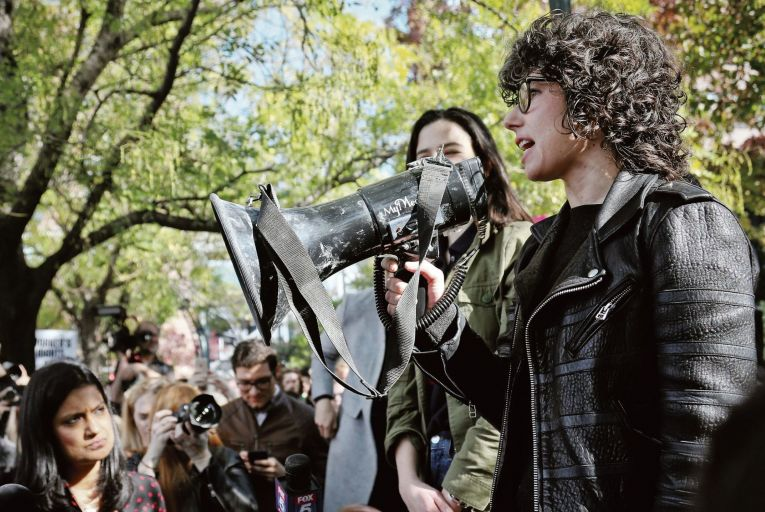 """Meredith Whittaker, at the Google walkout in 2018, left the company, saying """"Google isn't a place where I can continue this work."""" Pic: Bebeto Matthews/AP"""