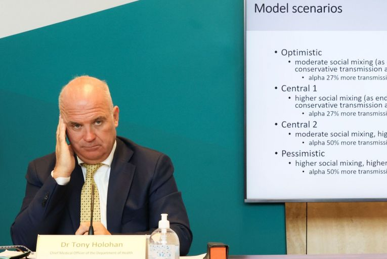 Dr Tony Holohan, the chief medical officer, said new restrictions were unlikely but could not be ruled out. Picture: Sam Boal/Rollingnews.ie