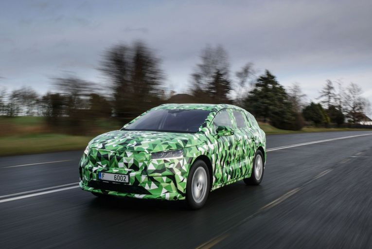 The Škoda Enyaq, the manufacturer's first electric-only offering, under camouflage