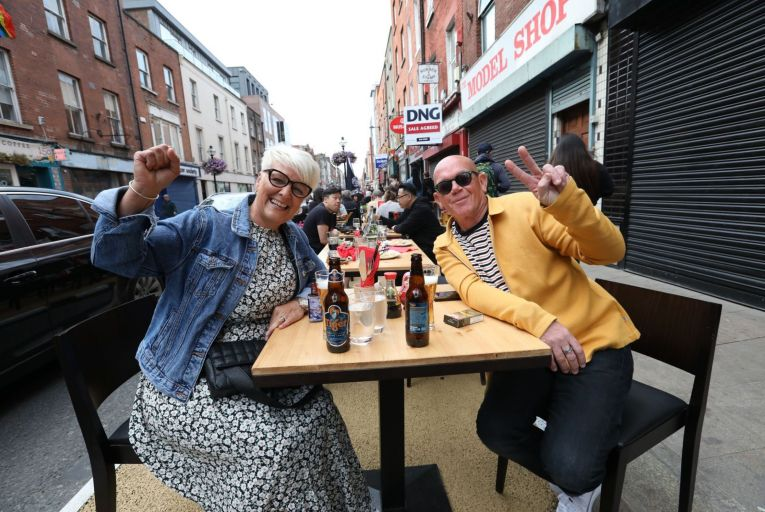Outdoor dining on Capel Street in Dublin city centre: A date for indoor dining has yet to be confirmed by the governmentRollingNews.ie