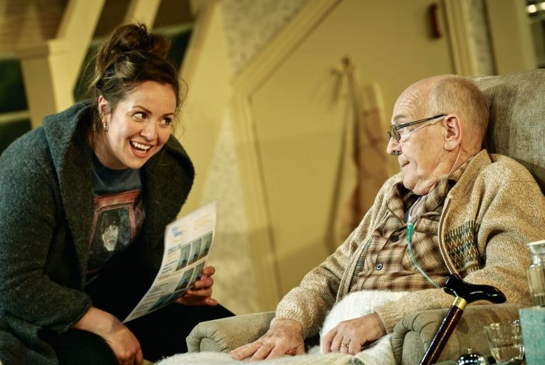 Liz FitzGibbon and Bosco Hogan in Una McKevitt's One Good Turn at the Abbey Theatre, directed by Emma Jordan. Picture: Ros Kavanagh