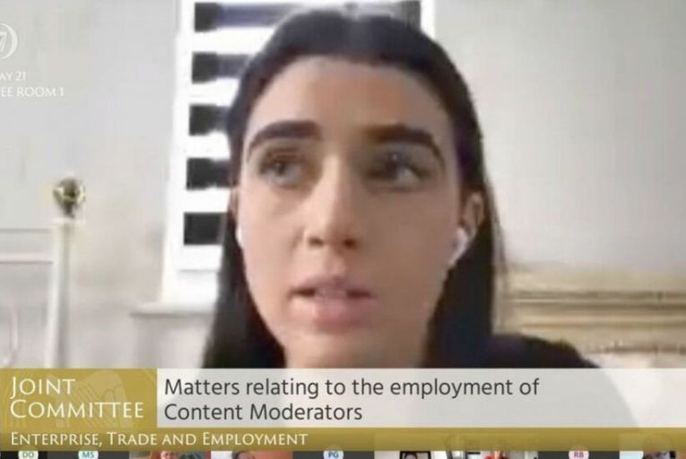 Isabella Plunkett spoke to the Oireachtas committee last Wednesday 'on behalf of hundreds of colleagues who would have come', but who, she said, were worried about speaking out about conditions Facebook moderators work under