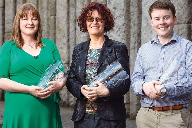 Second runner-up Michelle Coyne,  overall winner P Kearney Byrne, and  first runner-up Colm McDermott Picture: Fergal Phillips