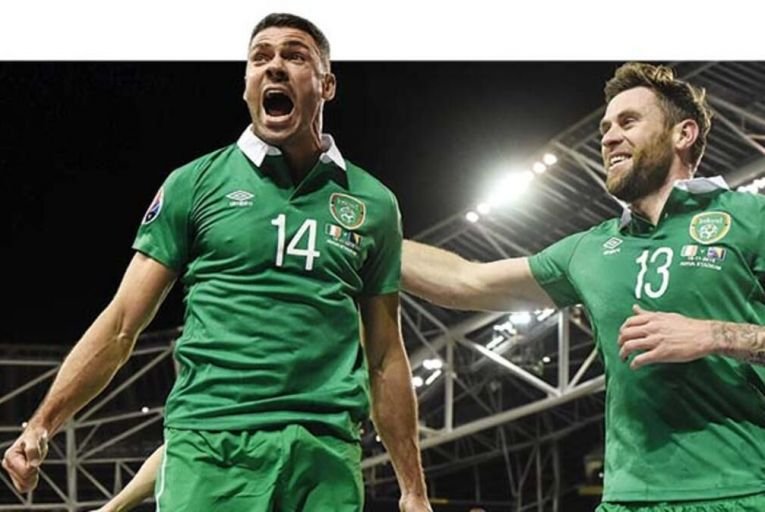Jonathan Walters is congratulated by Daryl Murphy after scoring against Bosnia at the Aviva Picture: Sportsfile