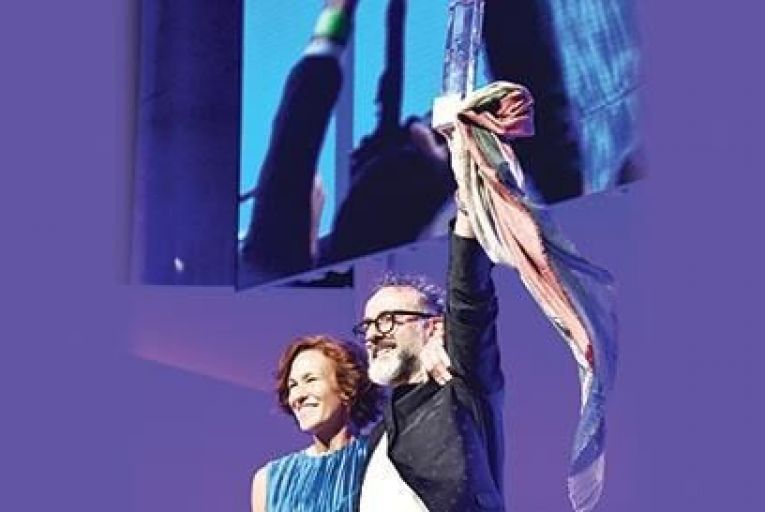 Chef Massimo Bottura celebrates his No.1 Best Restaurant Award with his wife Lara Gilmore at the Worlds 50 Best Restaurants 2016 Awards at Cipriani Wall Street in New York Picture: Getty