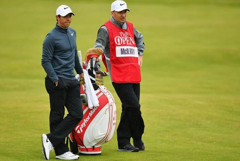 McIlroy with Fitzgerald during the second round of the 146th Open Pic: Getty