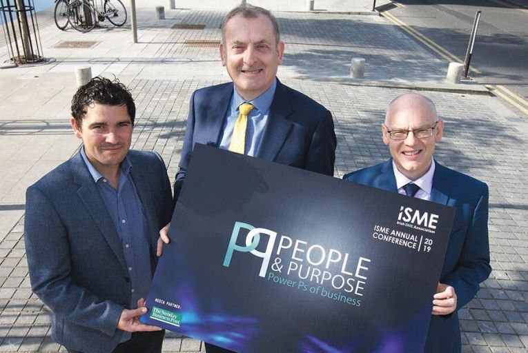Christopher Paye of Jobs.ie, Neil McDonnell of ISME and Noel Killeen of The Sunday Business Post at the launch of ISME Annual Conference 2019