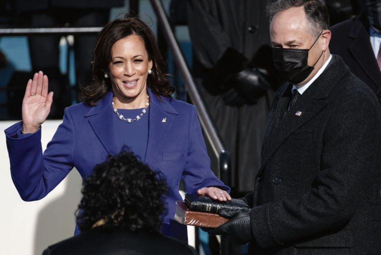 Kamala Harris is sworn in as US vice-president: a new biography of her is dogged but humourless. Picture: Getty