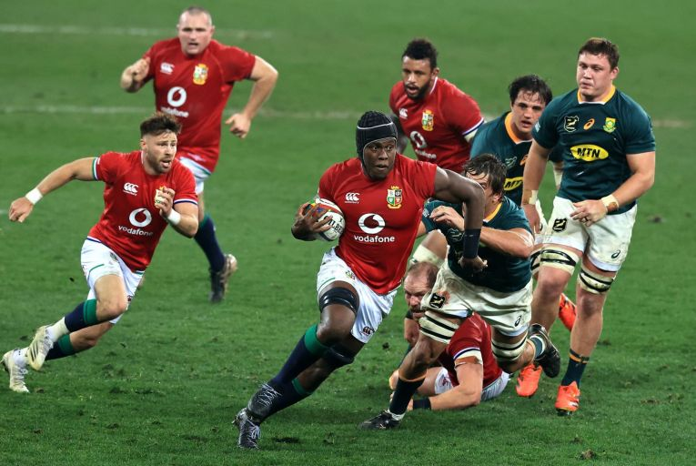 Maro Itoje of the British & Irish Lions charges upfield during the 3rd test match between the South Africa Springboks and the Lions at Cape Town Stadium on August 7. Picture: David Rogers/Getty Images