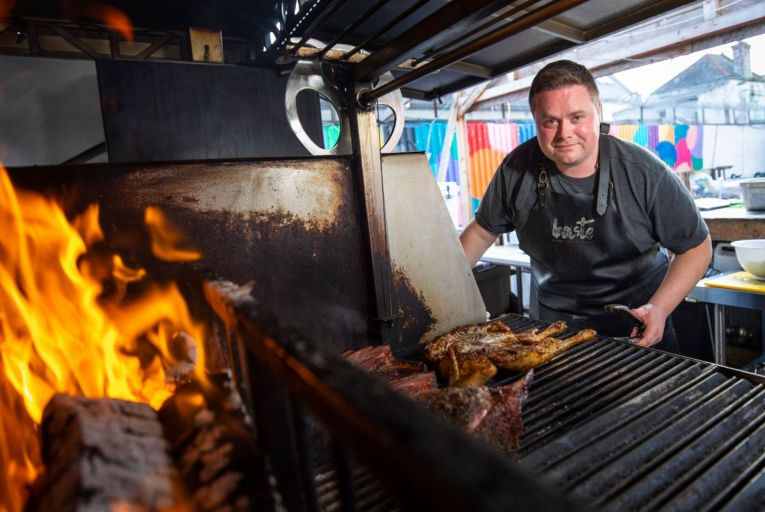 Andy Noonan, owner of Baste BBQ, gets his grill on. Picture: Fergal Phillips