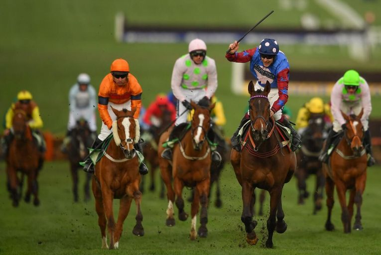 Cheltenham , United Kingdom - 14 March 2019; Jockey Aidan Coleman celebrates as he crosses the line to win the Sun Racing Stayers\' Hurdle on Paisley Park on Day Three of the Cheltenham Racing Festival at Prestbury Park in Cheltenham, England. (Photo By Seb Daly/Sportsfile via Getty Images)