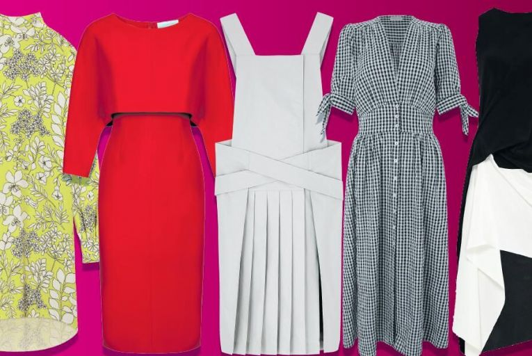 From left: Alana dress, €179 at hobbs.co.uk, Red 'Leah' dress, €243 by Caroline Kilkenny, Pleated cotton apron dress, €89 at COS, Dolly gingham midi dress, £59 at monsoon.co.uk and  'Oakworth' monochrome silk dress, €930 by Roland Mouret at Brown Thomas