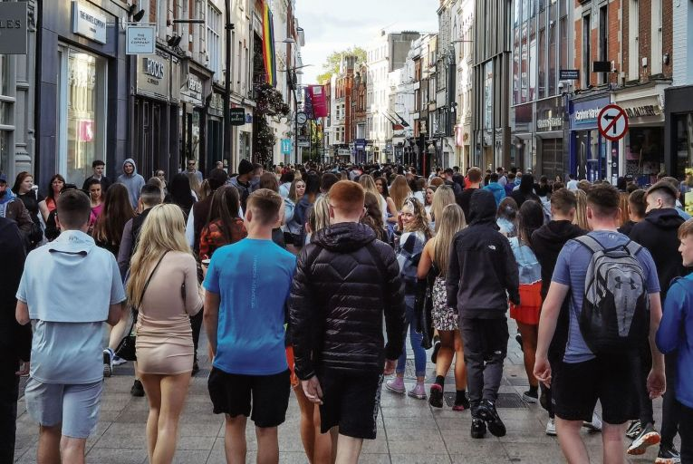 A busy Grafton Street with shopping restrictions lifted: Nphet fears a fourth wave of Covid causing high case numbers due to the Delta variant. Picture: Getty