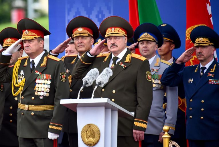 Belarus President Alexander Lukashenko, centre, has been under siege like never before since mass demonstrations against his dictatorship began in August last year Picture: Getty Images