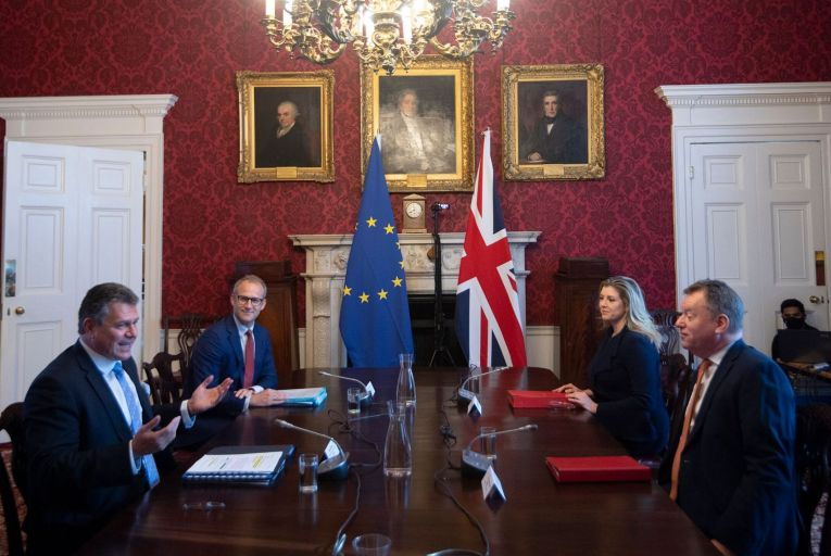 Maros Sefcovic, vice-president of the European Commission, far left, and David Frost, the UK's Brexit Minister, at a meeting in London last month. Picture: Getty