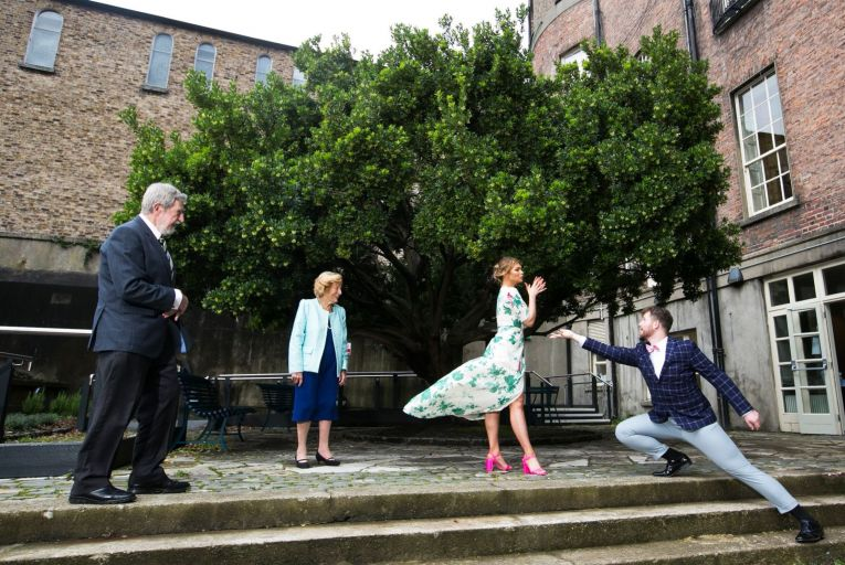 Diamuid Hegarty, president of Griffith College, and Veronica Dunne, Irish opera legend, watch opera singers Aebh Kelly and Matt Mannion perform at the launch of the Veronica Dunne Bursary at MoLI Museum of Literature in Dublin. Photo: Leon Farrell/Photocall Ireland.