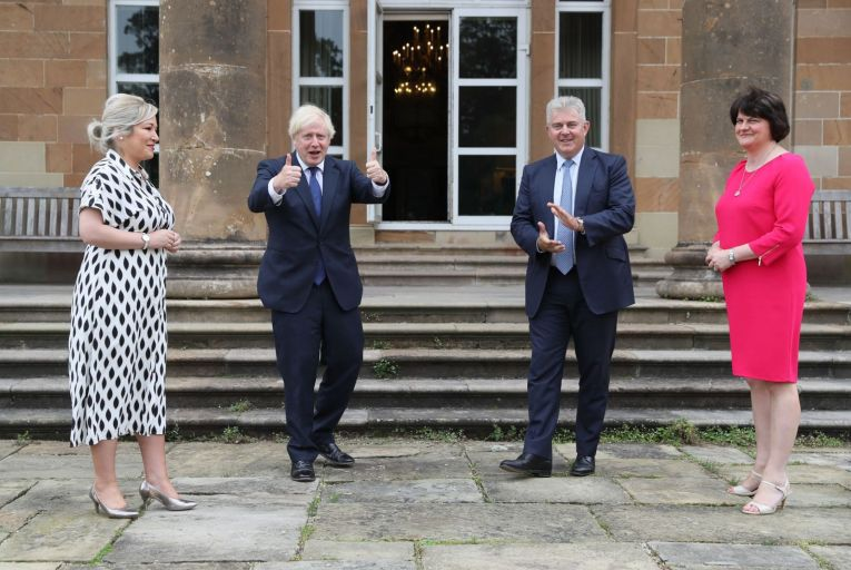 Northern Ireland Deputy First Minister Michelle O\'Neill, UK Prime Minister Boris Johnson, Northern Ireland Secretary of State Brandon Lewis and Northern Ireland First Minister Arlene Foster at Hillsborough Castle during the Prime Minister\'s visit to Belfast last August. Picture: Brian Lawless