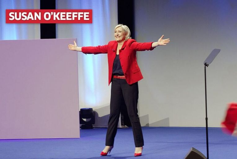 Le Pen at a rally in Lille this week Pic: Getty