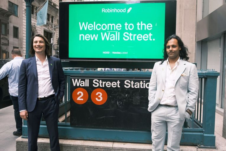 Vlad Tenev and  Baiju Bhatt, founders of Robinhood, on Wall Street after the company went public last month. Picture: Getty