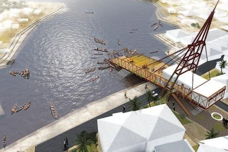 A computer-generated images of a floating media platform under construction in Port Harcourt, Nigeria