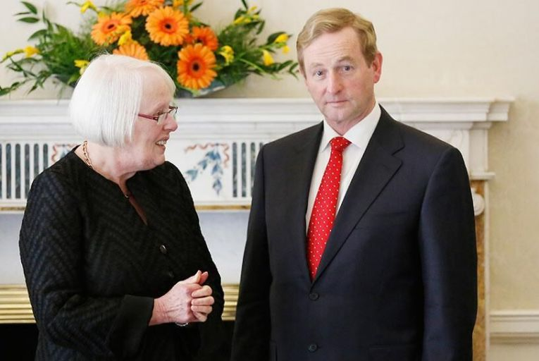Justice Mary Laffoy with the Taoiseach on her Supreme Court appointment  Pic: RollingNews.ie