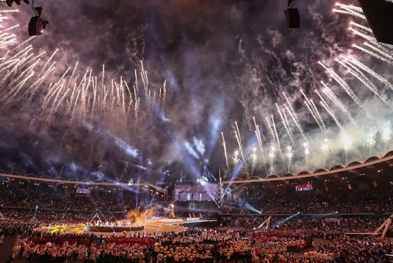 Fireworks come out of Zayed Sports City Stadium to celebrate the opening ceremony for the Special Olympics World Games in Abu Dhabi. Pic:Getty Images