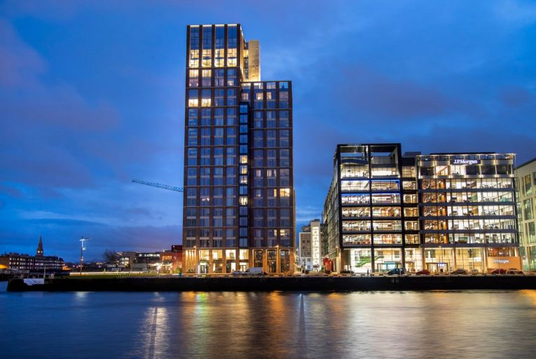Capital Dock: nearly half the 190 apartments in the 22-storey built-to-let tower in Dublin's Docklands are vacant. Picture: Fergal Phillips.
