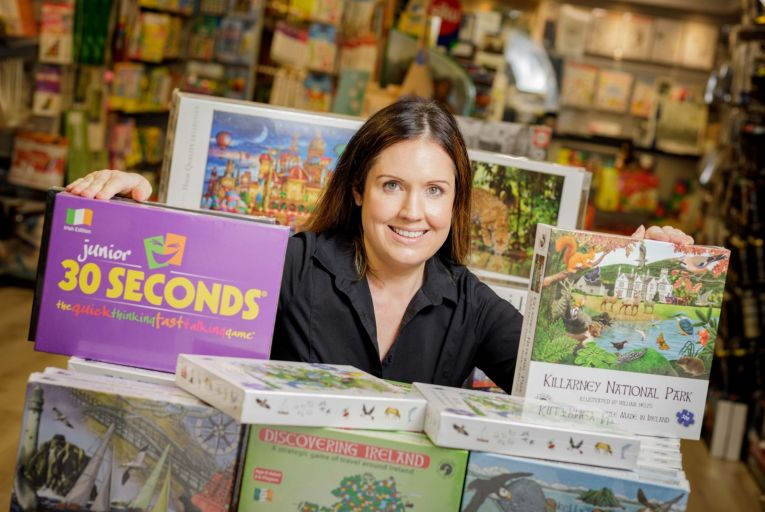 Deirdre Conway, founder of The Hobby Shop in Sligo, with a selection of Irish-made jigsaws it sells. Photo: James Connolly
