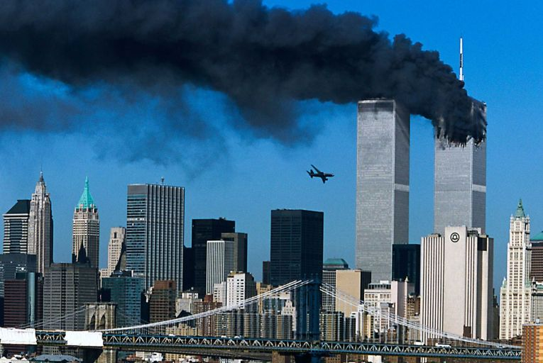 A hijacked plane is seen moments before striking the second tower of the World Trade Center on September 11, 2001. Picture: Getty