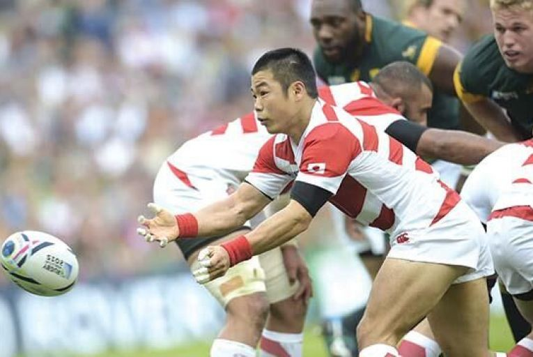 Fumiaki Tanaka of Japan in action during their historic win over South Africa last weekend Getty