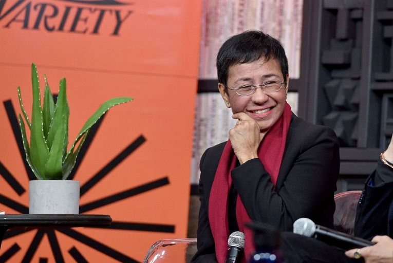 Maria Ressa (pictured) and Dmitri Muratov were awarded the prize for their courage in defending the principle of freedom of expression. Picture: Getty