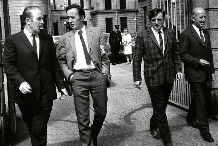 Neil Blaney, James Kelly, John Kelly and Albert Luykx leave the Circuit Criminal Court, Dublin during the Arms Trial. Photograph: Dermot Barry