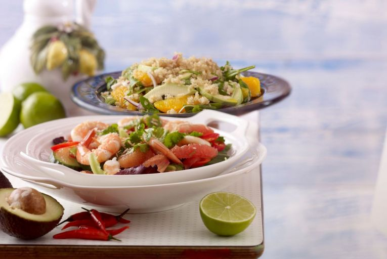 A Thai-style pomelo and shrimp salad and a quinoa salad with watercress and avocado with a citrus vinaigrette