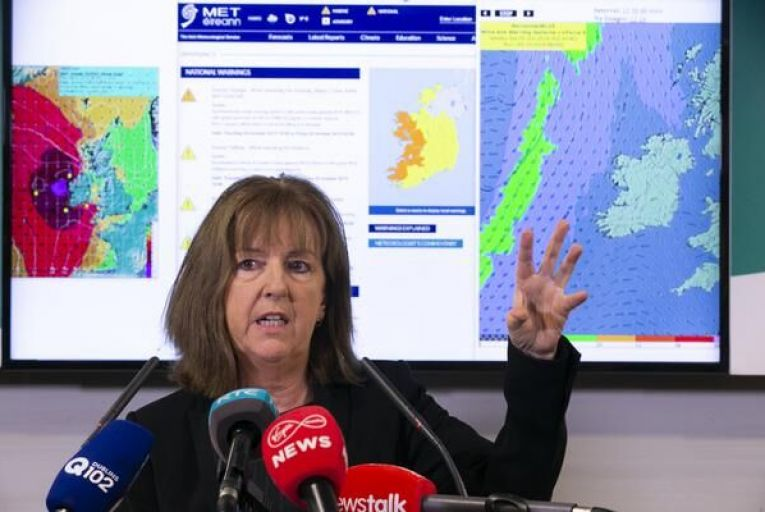 Evelyn Cusack, head of forecasting at Met Éireann, briefs the media before the arrival of Storm Lorenzo last week. Photo: Sam Boal/Rollingnews.ie