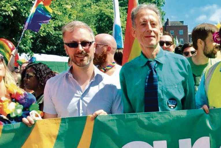 Roderic O'Gorman and Peter Tatchell at Pride in 2018: the new Minister for Children says he met Tatchell once