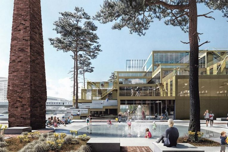 CGI of Creative Cluster  Square in the new Belfast  Waterside scheme