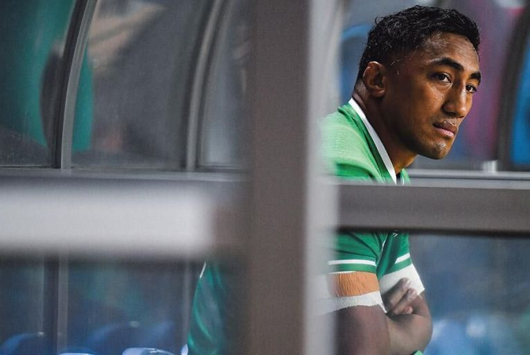 Bundee Aki of Ireland is disconsolate after his first-half sending-off against Samoa at the Rugby World Cup in Fukuoka yesterday Pic: Getty