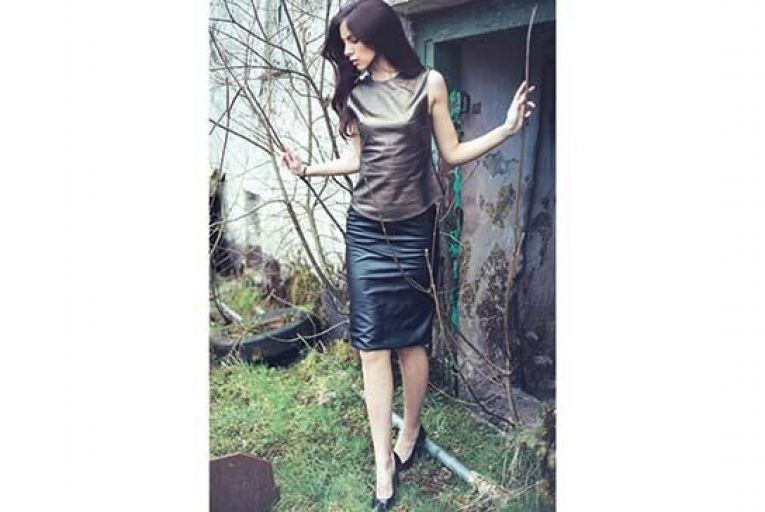 Armour style leather top, €170; leather skirt, €250