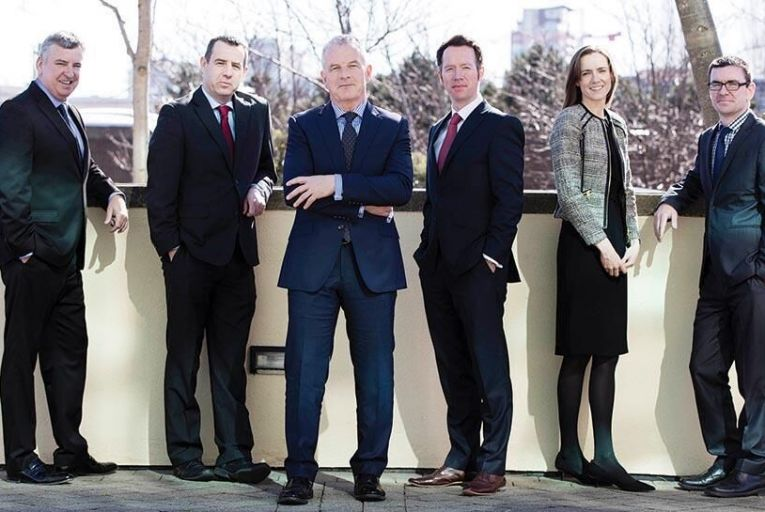 From left:  Alan Marsh, Business Development Manager; John Mackey, Senior Business Development Manager; Bernard OHare, Managing Director; David Lyons, Business Development Manager; Aoife McGinley, Head of Client Services and Operations; Mark ORourke, Head of RiskAndres Poveda