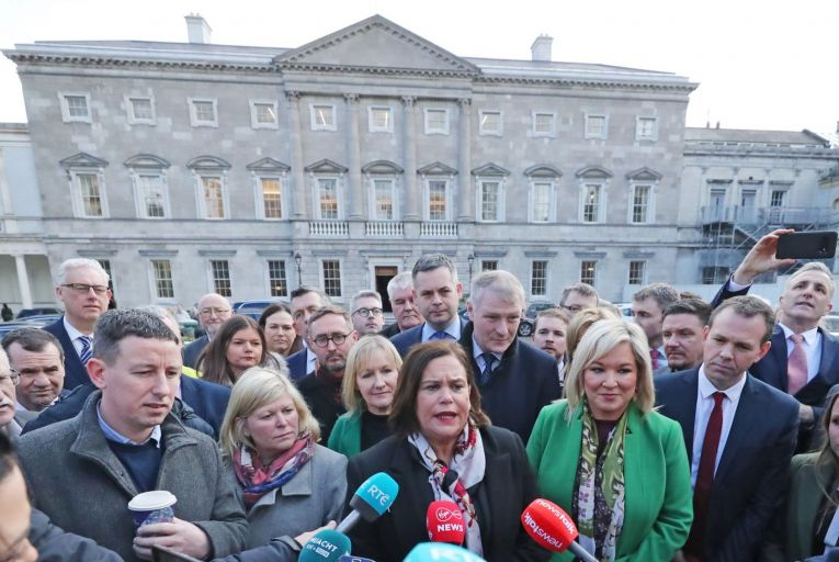 Sinn Fein Leader, Mary Lou McDonald speaks to the media as the newest members of the Sinn Fein Parliamentary Party meet for the first time at Leinster House in Dublin. Thursday February 13, 2020. Picture: Niall Carson/PA