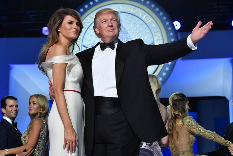 Trump and Melania dance at the Freedom Ball Pic: Getty