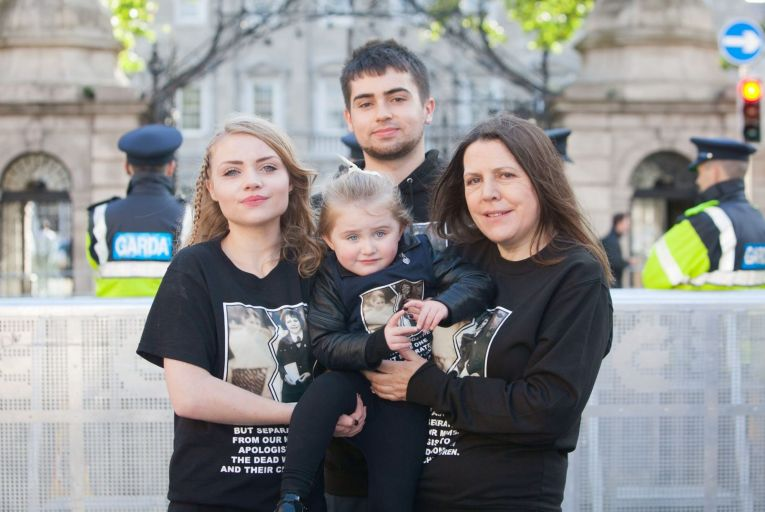 Relatives of Angela Collins, who spent 27 years in a Magdalene Laundry, protest for the forgotten victims of institutional abuse. Picture: Gareth Chaney Collins