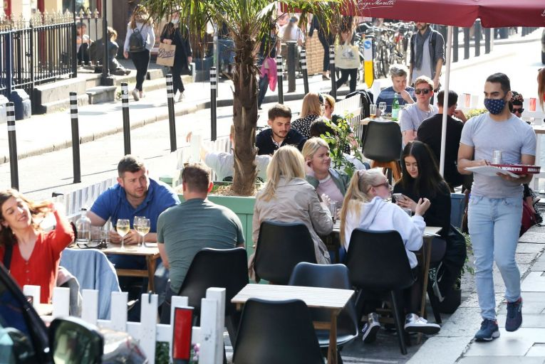 Outdoor dining in Dublin during level 3 restrictions last year: a new fund has been launched to help food businesses provide outdoor dining. Photo: Sasko Lazarov/RollingNews.ie