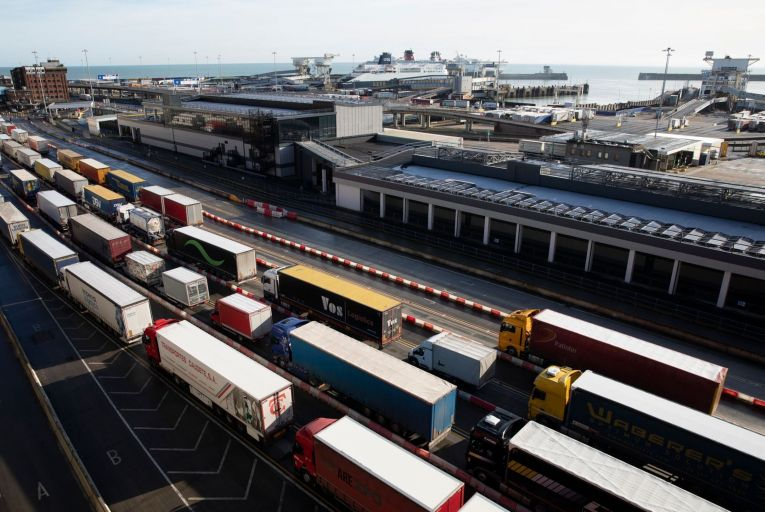 Lorries queue for the frontier control area at the Port of Dover in Kent last Friday: post-Brexit customs compliance is proving to be more challenging than many businesses had expected. Photo: Getty