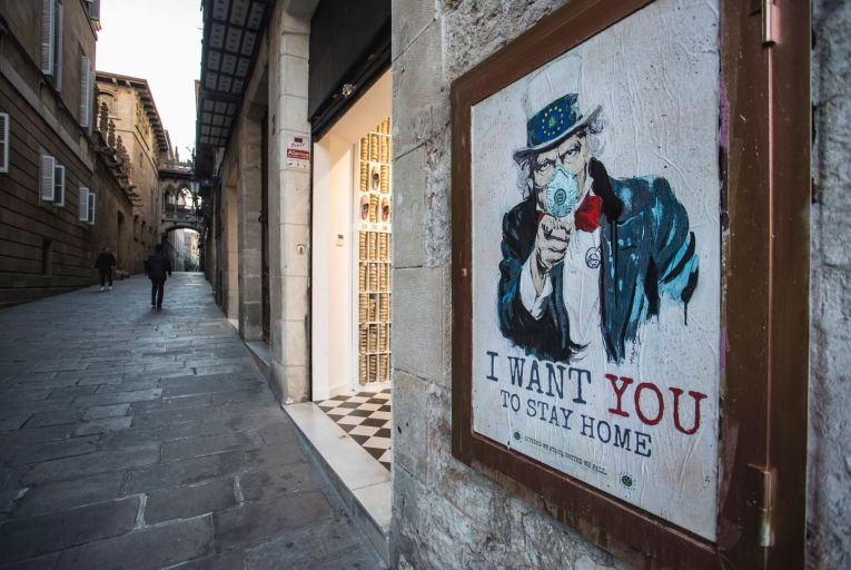 View of the painting \'I Want You To Stay Home\', last work of the graffiti artist TV Boy on March 13, 2020 in Barcelona, Spain where a state of emergency has been declared.