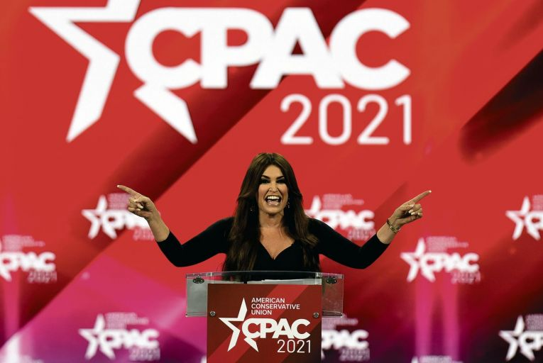 Kimberly Guilfoyle addresses attendees at the 2021 Conservative Political Action Conference at the Hyatt Regency hotel in Orlando, Florida