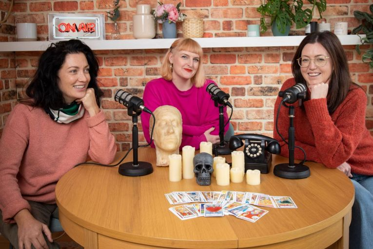 Jen O'Dwyer, Sophie White and Cassie Delaney, hosts of The Creep Dive podcast: 'No one is really here for the facts, we're just here for the journey.' Picture: Fergal Phillips