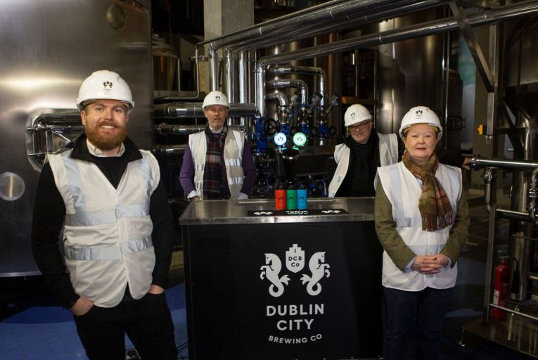 David O'Hare, Geoff Waddell, Fergal Murray and Karen Burke of Dublin City Brewing Company: the company's range is on sale in SuperValu branches across Dublin Picture: Barbara McCarthy