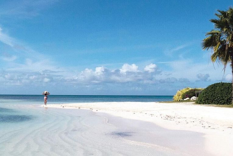 There's no competition for space on the pristine sands of Jumby Bay Island