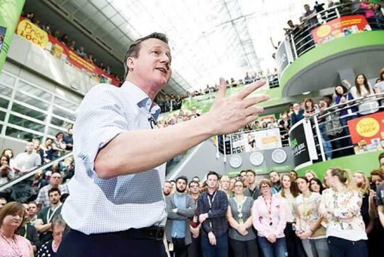 David Cameron, British prime minister and leader of the Conservative Party, addresses workers at Asda. Picture: Getty